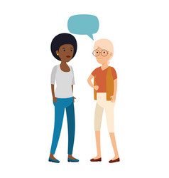 black woman talking with old woman vector image