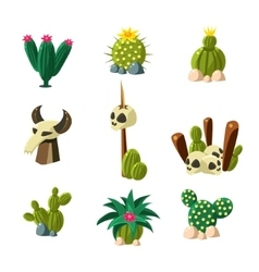 Blossom Cactus and Skull Set vector image