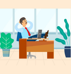 Boss relaxing in room with plants chef employer vector