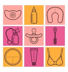 Breastfeeding Flat icons on colored background vector image