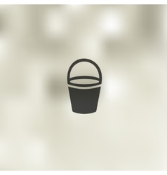 Bucket icon on blurred background vector