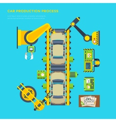 Car production line poster vector