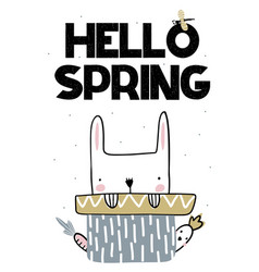 Card with lettering hello spring with cute bunny vector