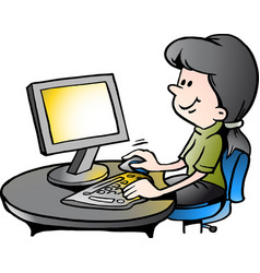 Cartoon of a secretary at work vector