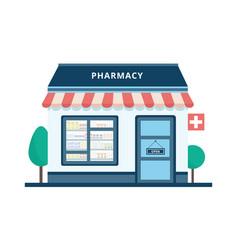 Cartoon pharmacy building exterior isolated on vector