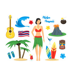 cartoon symbol of hawaii color icons set vector image