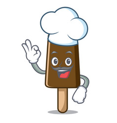 chef chocolate ice cream character cartoon vector image