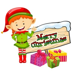 Christmas theme with elf and christmas sign vector image vector image
