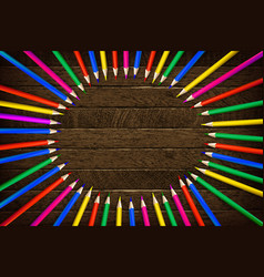 color pencil on wooden background vector image