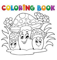 Coloring book mushroom theme 2 vector