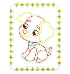 coloring book of cute good animal puppy vector image