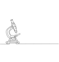Continuous one line drawing laboratory microscope vector
