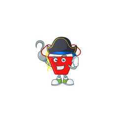 Cool one hand pirate chinese box noodle with hat vector