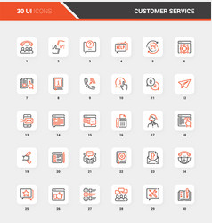customer service flat line web icon concepts vector image
