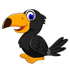 Cute black bird cartoon posing vector