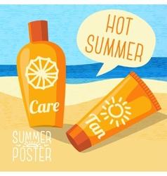 Cute summer poster - sun care creams on the beach vector image