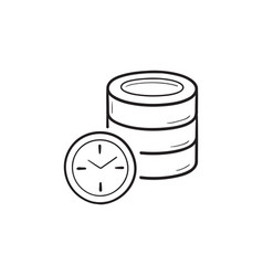 database with clock hand drawn outline doodle icon vector image