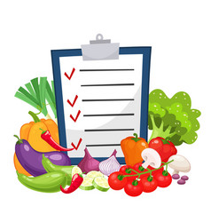 diet menu with a group of vegetables vector image