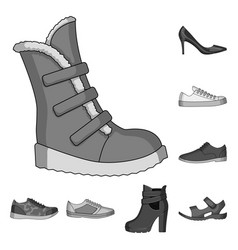 different shoes monochrome icons in set collection vector image