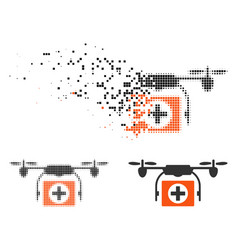 Dissolved pixelated halftone medical drone icon vector