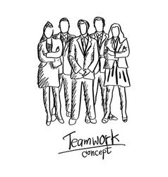 Doodle five business people team in formal suit vector