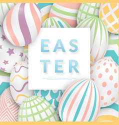 easter background with 3d ornate eggs text and vector image