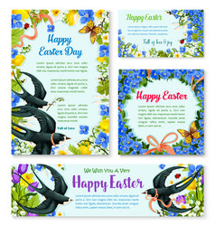 Easter banner template with spring birds flowers vector