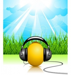 easter illustration with musical egg vector image