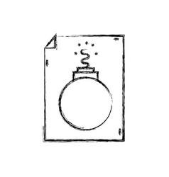Figure danger bomb weapon destruction inside paper vector