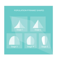 Five different types of population pyramids charts vector