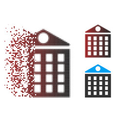 Fractured pixel halftone multi-storey house icon vector