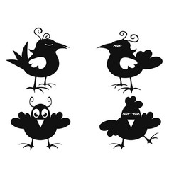 funny black bird icon vector image
