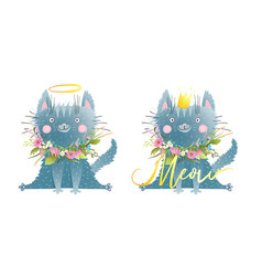 funny little cat or kitten saying meow kids style vector image