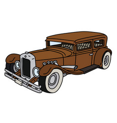 funny vintage brown car vector image