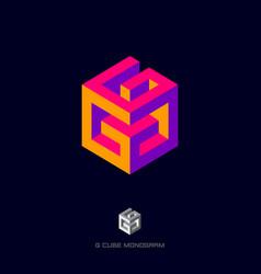 Geometric logo g letter cube monogram vector