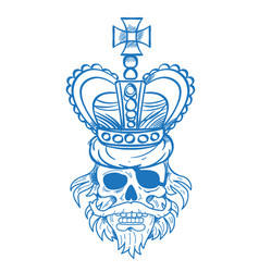 Hairy pirate skull in the royal crown outline vector