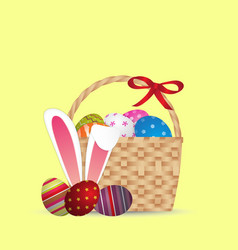 Happy easter day design basket of easter eggs vector