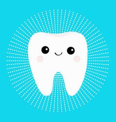 healthy white tooth round icon with smiling face vector image