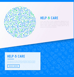 help and care concept in circle vector image