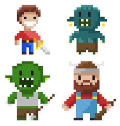 Hero set pixel game geek and cavalier vector