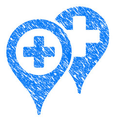 Hospital locations grunge icon vector