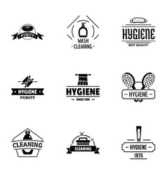 hygiene logo set simple style vector image