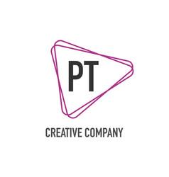 initial letter pt triangle design logo concept vector image