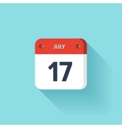 July 17 Isometric Calendar Icon With Shadow vector