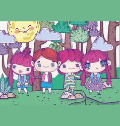 kids cute boys and girls in forest sunny day vector image