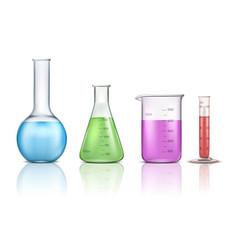 laboratory glassware 3d realistic set vector image