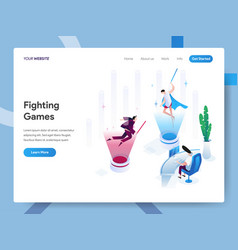 landing page template fighting games isometric vector image