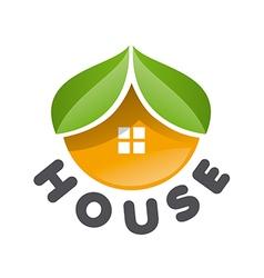 Logo house in form an orange vector
