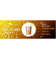 long island iced tea cocktail ingredients vector image