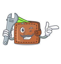 mechanic wallet mascot cartoon style vector image